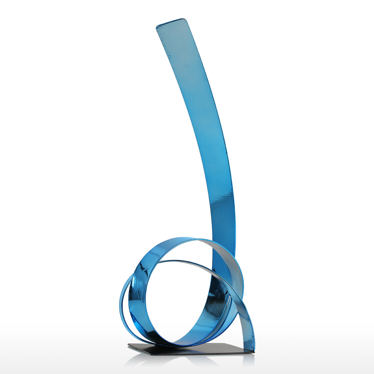 Iron Sculpture The Rising Ribbon Metal Sculpture Modern Style Sculpture Handicraft Home Decoration Ornament Blue