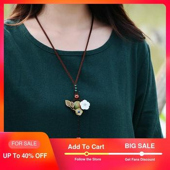 Cute Turquoise ethnic vintage jewelry shell bronze flower agate pendant women long necklace