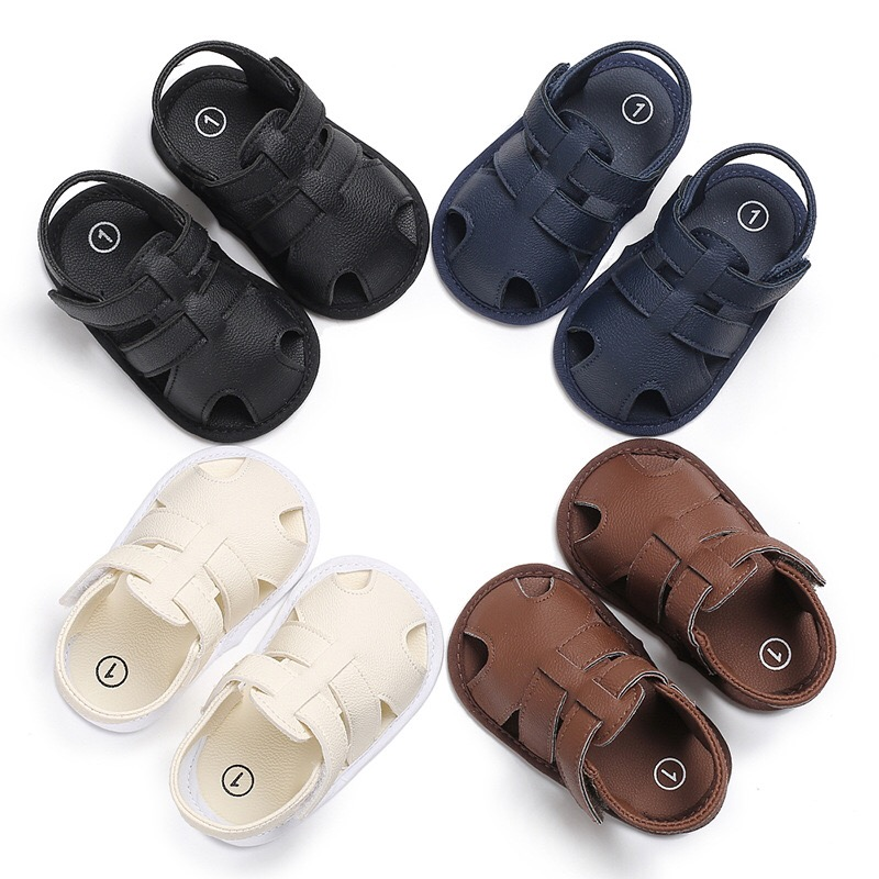 Stylish Baby Boys Sandals Summer Solid Color Toddler Slip-On Shoes Baby PU Leather Sandals 0-18 Months