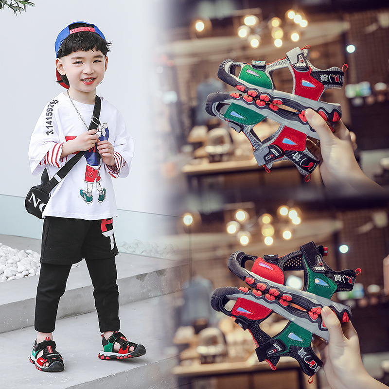 Summer New Children Sandals Boys Hollow Out Beach Sandals Soft Comfortable Space Mesh Kids Sandals Size 26 To Size 36