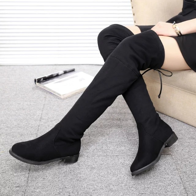 2017 Autumn And Winter Online Celebrity Small Chili Celebrity Style Over-the-knee Boots Elasticity Lace-up Super Slimming Boots\