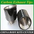 1X 114 мм Глянцевая выхлопная труба из углеродного волокна 304 нержавеющая сталь универсальные наконечники глушителя выхлопная труба