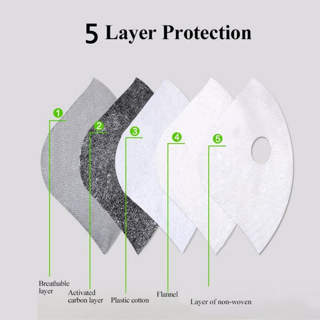 PM2.5 Face Mask Filter Paper Activated Carbon Filter Anti Allergy Flu Dustproof For Double Respirator Mouth Mask health care 1