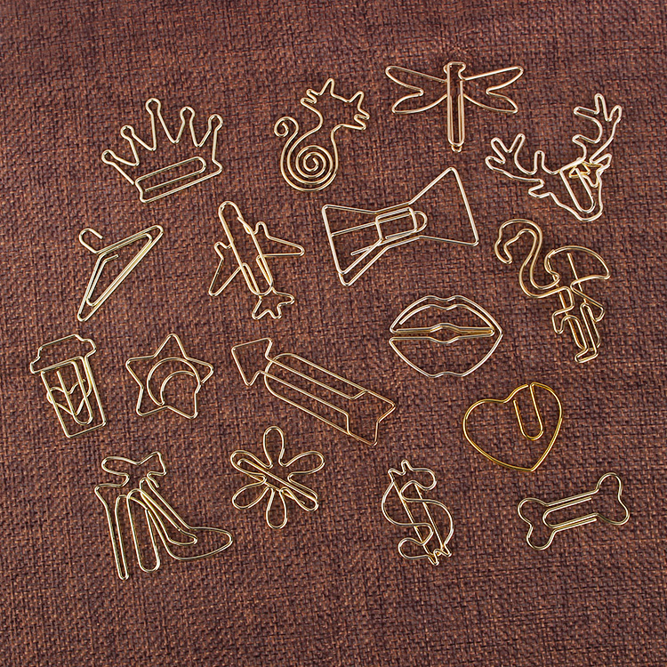 8pcs Kawaii Creative Paper Clips Binder Clip Electroplating Gold Bookmark Metal Office Accessories School Supplies Stationery