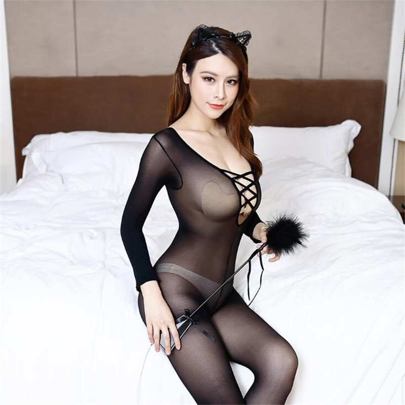 Women's Sexy Lingerie Charming Body Stockings Black Chest Cross Tights Long-sleeved Perspective Stockings Nylon Siamese Clothing