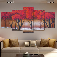 HD Prints Canvas Paintings Wall Art Modular Living Room Decor 5 Pieces Red Forest Trees Posters Pictures Artwork No Frame