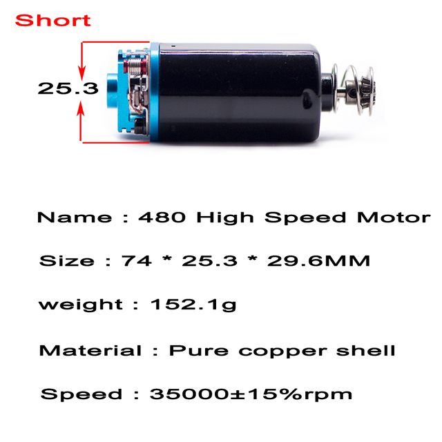 450/480 High Speed Strong Magnet Short-AXIS 31000RPM Motor for Airsoft Accessories Paintball AEG Aug M4 AK MP5/G3 Ver.3