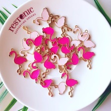 10pcs gold-tone alloy pink rose red enamel animal Flamingo charms pendant DIY Accessory for wedding birtday party decor Gift