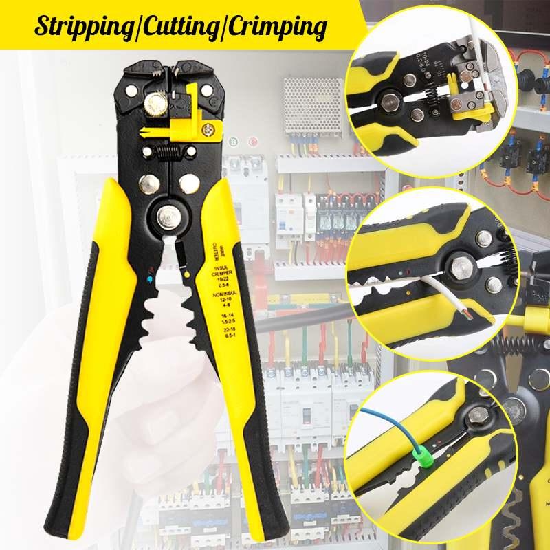 Descascador de arame alicate descalcador cortador de cabo crimper alicate de fio jx1301 guia automática terminal friso descascar alicate ferramentas