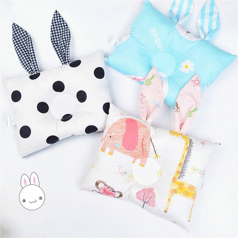 Newborn Baby Shaping Pillow Prevent Flat Head Infants Cute Rabbit Ear Shape Cartoon Dot Cotton Sleeping Bedding Pillows