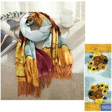 Зимний шарф для женщин Ван Гог краска цифровая печать бандана