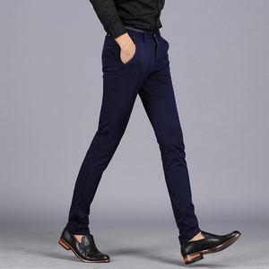 Image 4 - 2020 Spring Non Iron Dress Men Classic Pants Fashion Business Chino Pant Male Stretch Slim Fit Elastic Long Casual Black Trouser