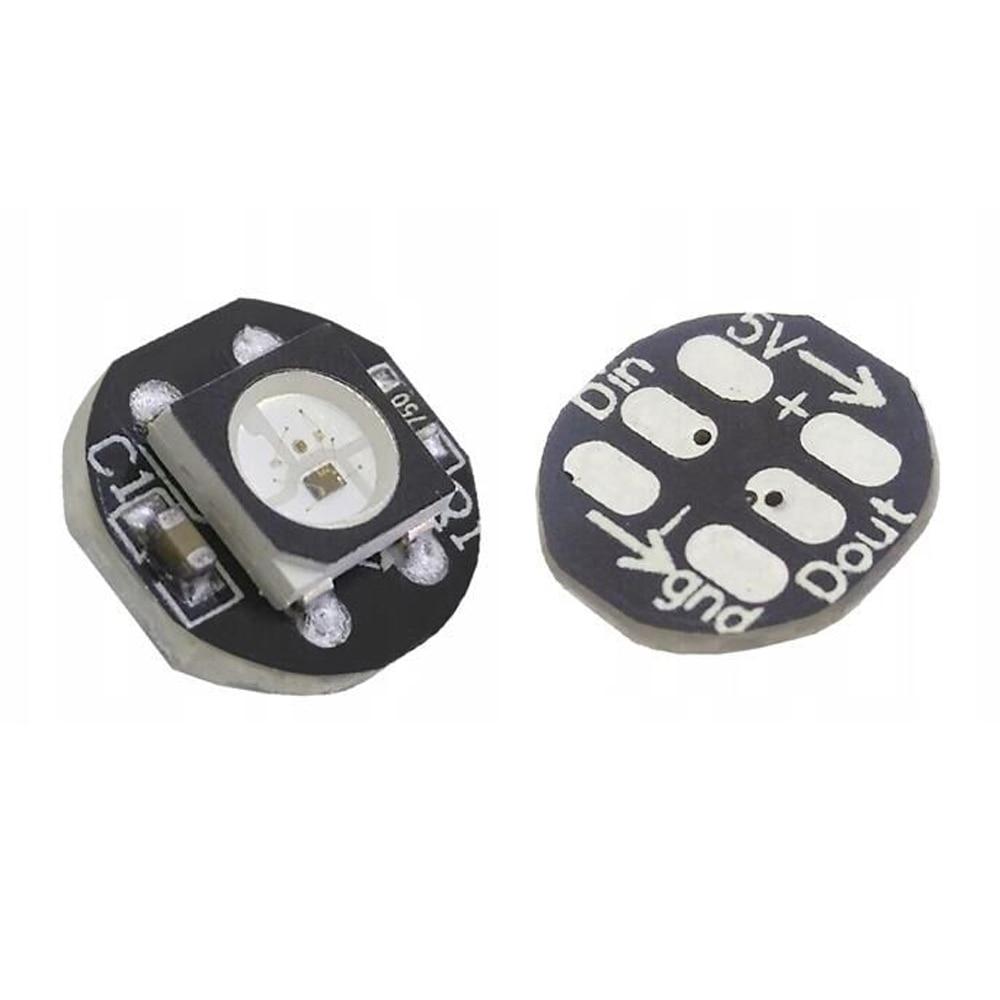10pcs-50pcs DC5V Ws2812b 5050 RGB LED Chip With Black / White PCB Board Heatsink 9.6mm Diameter WS2811 IC Built-in