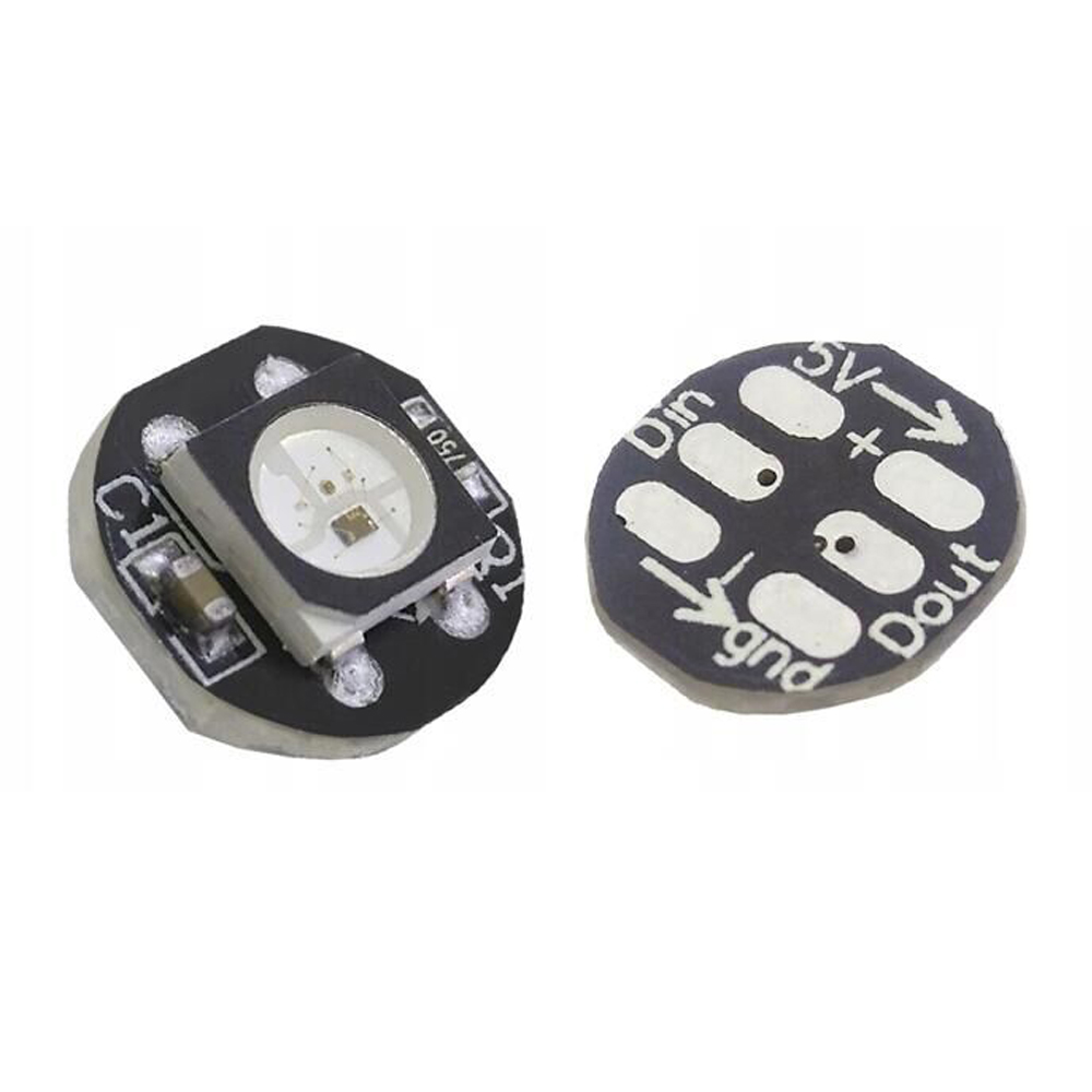 10pcs-50pcs <font><b>DC5V</b></font> <font><b>ws2812b</b></font> 5050 RGB LED Chip With Black / White PCB Board Heatsink 9.6mm Diameter WS2811 IC Built-in image