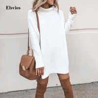 Elsvios jesień elegancki O-Neck sweter sukienka kobiety na co dzień stałe Mini sukienka zima z długim rękawem z golfem sukienki Vestidos Mujer