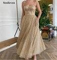 Smileven, золотистые блестящие короткие платья для выпускного вечера, а-силуэт, длиной до щиколотки, вечерние платья на заказ