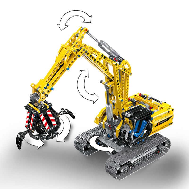 Escavadeira elétrica rc 2 em 1, blocos de construção, 720 peças, técnica, engenharia, escavadeira, blocos, tijolos, brinquedos para crianças