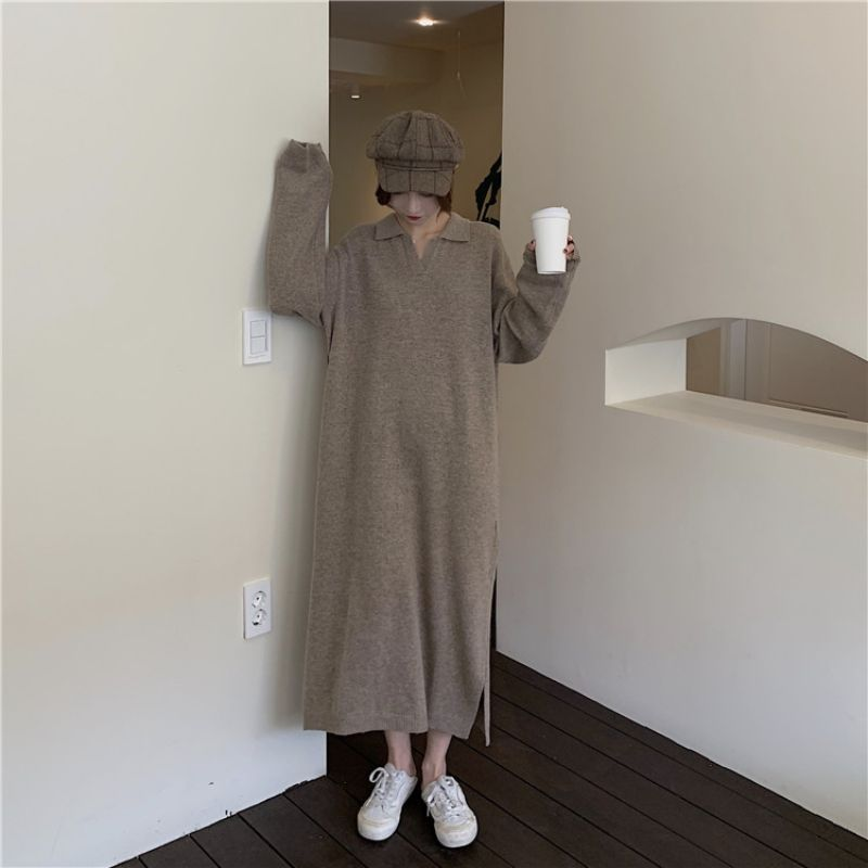 Knitted Sweater Dress Autumn And Winter Women\\\'s Dress New Knitted Dress Casual Loose Straight V-neck Long Sweater Dress