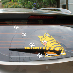 Image 2 - KAWOO Waterproof Car Stickers Cartoon Funny Moving Tail Cat Stickers Car Styling Window Wiper Decals Rear Windshield Sticker