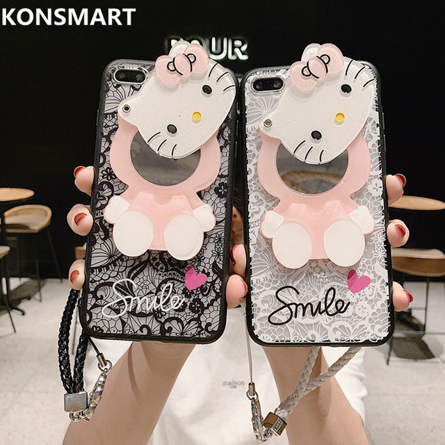 3D Lace Kitty Mirror Case for Huawei Honor 10 10 lite 9 9i 9 lite 9x 9x pro 8a 8x 8s 8 8 lite 7 6x 5a Pendant Cover KONSMART
