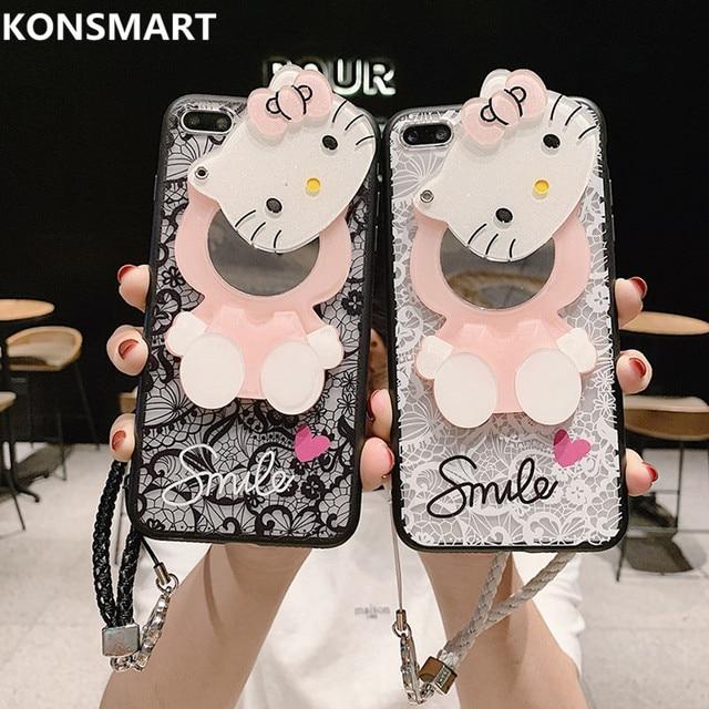 3D Ren Tráng Gương Kitty dành cho Huawei Honor 10 10 Lite 9 9i 9 Lite 9X 9X Pro 8A 8x8 S 8 8 lite 7 6x 5A Mặt Dây Chuyền Bao KONSMART