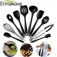 ERMAKOVA 10 шт./Партия набор силиконовой кухонной утвари термостойкий антипригарный набор кухонной утвари набор силиконовых кухонных инструмен...