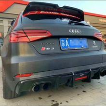 A3 настоящий карбоновый Автомобильный задний бампер, спойлер, диффузор, задняя губа для Audi A3 S3 RS3 Sline хэтчбек с лампой