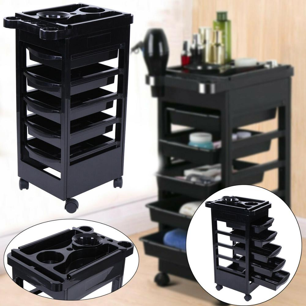 Professional 5 Salon Hairdresser Barber Beauty Storage Trolley Hair Drawers Colouring Spa Cart Colouring Styling Tools