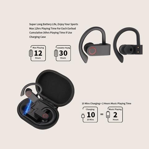 Wireless Sports Headphones TWS Bluetooth 5.0 Earphones Ear Hook Running Noise Cancelling Stereo Earbuds With MIC IPX4 Waterproof Karachi