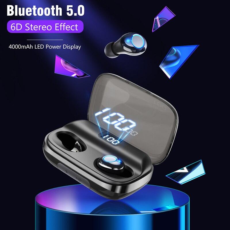 6D V5.0 Fone de Ouvido Fones de Ouvido Sem Fio Bluetooth Esporte fone de ouvido Estéreo Sem Fio Fones De Ouvido Fones de Ouvido fone de Ouvido Xiaomi banco do Poder 4000 mAh Para o iphone