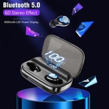 Fones de ouvido 6d bluetooth v5.0, fone de ouvido estéreo, esportivo, sem fio, 4000 mah para iphone, xiaomi