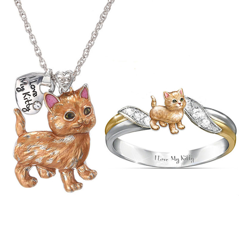 """I Love My Kitty"" Cute Cat Jewelry Sets Cartoon Animal Necklace/Rings Jewelry Sets&More Statement Wedding Jewelry Gifts"