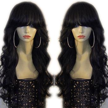 Eversilky 360 ludzki włos koronki przodu peruki z grzywką dzieckiem włosy Pre oskubane Fringe peruka peruwiański Remy ludzki włos ciało fala naturalna linia włosów tanie i dobre opinie Remy włosy Średnia wielkość Peruwiański włosów Średni brąz Ciemniejszy kolor tylko Swiss koronki 360 Lace Frontal Wig