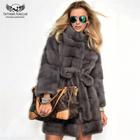Tatyana Furclub 2019 New Fashion Dark Grey Mink Coat With Stand Collar Medium Slim Winter Real Fur Coat Women Plus Size garment
