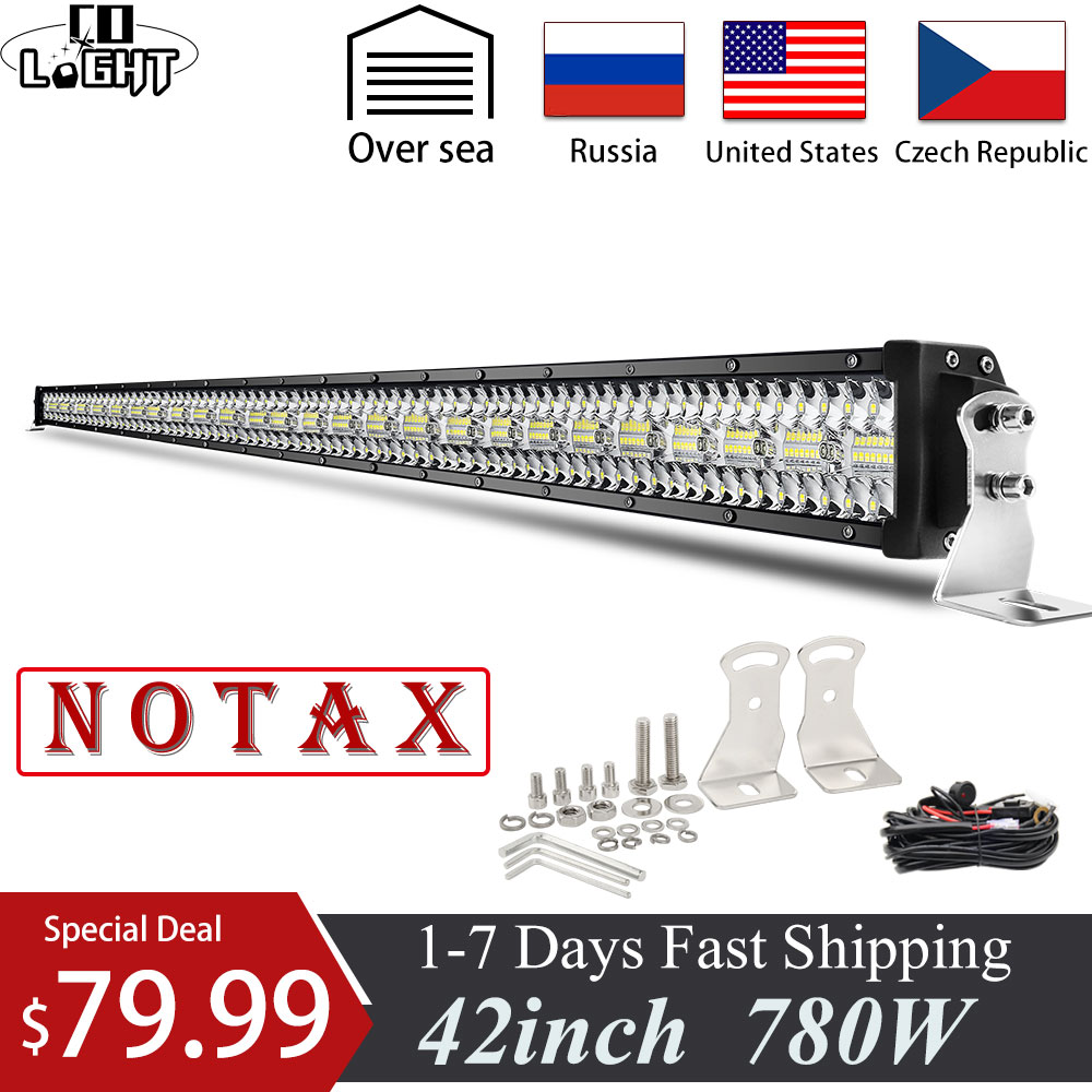 CO LIGHT 12D Offroad LED Bar 780W 42inch Light Bar 3-Rows Combo Beam For 4x4 Lada ATV Truck SUV UAZ Boats LED Work Light 12V 24V