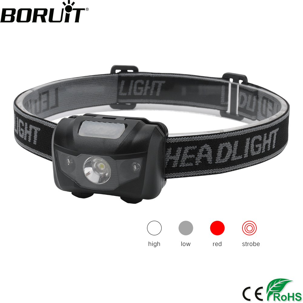BORUiT 3W Powerfull Mini Headlamp Red Light LED Headlight 4-Mode Waterproof Head Torch Camping Hunting Flashlight AAA Battery