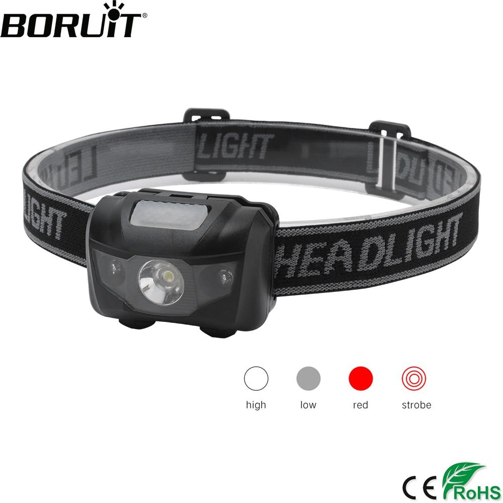 BORUiT 3W Powerfull Mini Headlamp Red Light LED Headlight 4-Mode Waterproof Head Torch Camping Hunting Flashlight AAA Battery