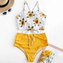Sexy High Waist Bikini 2020 Push Up Swimsuit Women 2 Pieces Set Bathing Suits Woman Swimming Suit For Women Sunflower Print