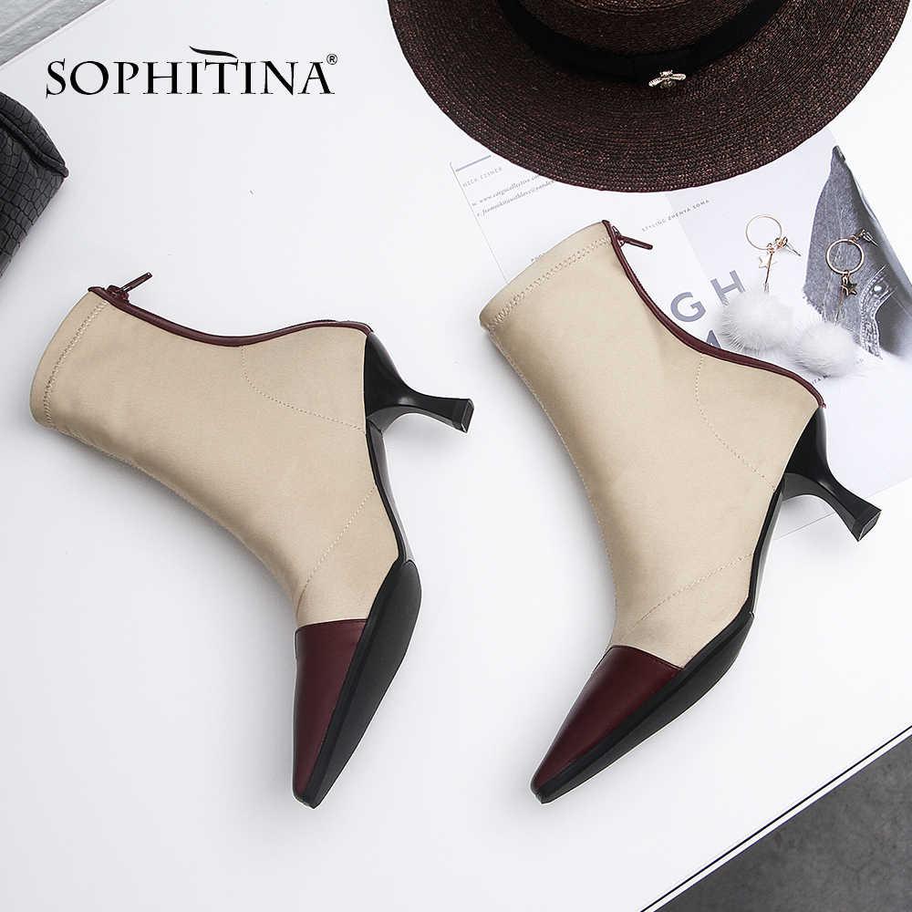 SOPHITINA kış yeni kadın botları SquareToe ince topuklu yüksek fermuar streç kumaş Slip-On ayakkabılar inek deri Patchwork botları SO311