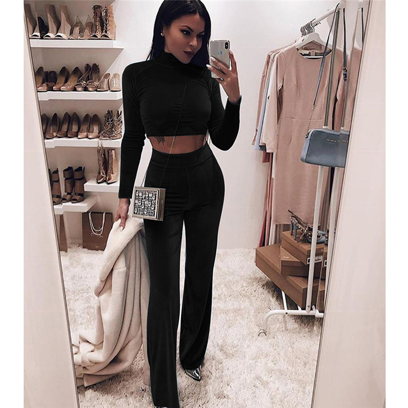 New 2Pcs Women Ladies Crop Tops Tracksuit Pants Sets Sport Wear Casual Suit