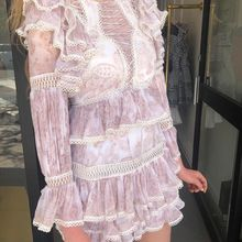 2020 summer flare sleeve pink lace hollow out mini dress