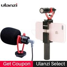 Vlog Micrófono de cámara compacto con mango para teléfono, accesorio de vídeo para teléfono inteligente, iPhone 11, Huawei, Canon, Nikon, DSLR