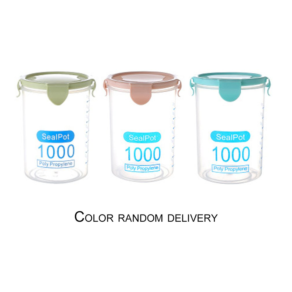 3 PCS 1000ML Practical Household Plastic Storage Jars Food Storage Bottle Safe Non-Toxic Leakproof Sealed Kitchen Storage Box