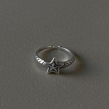 Vintage 100% Authentic S925 Sterling Silver Retro Star rings Fine Jewelry TLJ881(China)