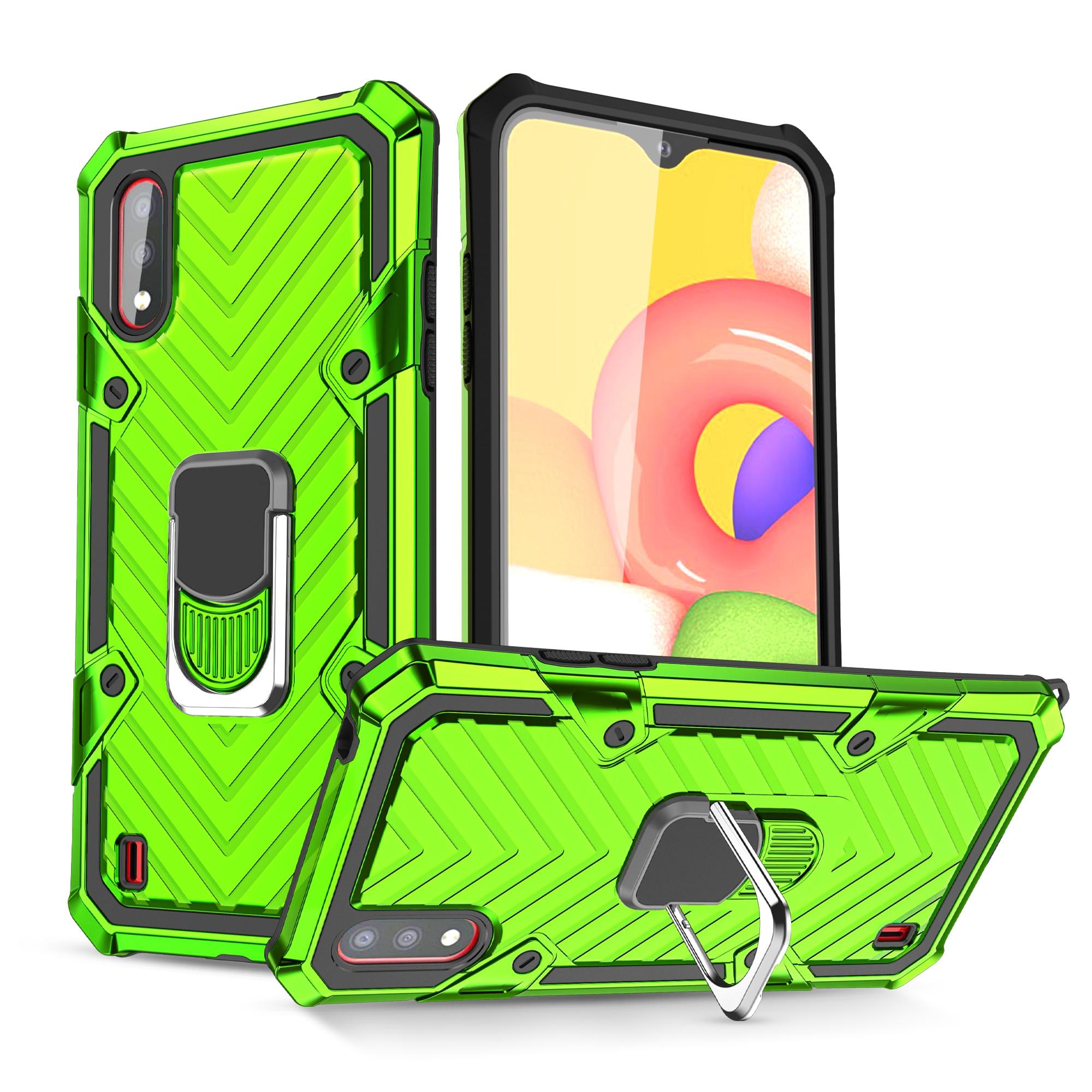 Модный роскошный тяжелый защитный чехол с кольцом на палец для телефона Samsung Galaxy A01 A41 A51 A71 A81 A91 A21 A11 чехол из ТПУ