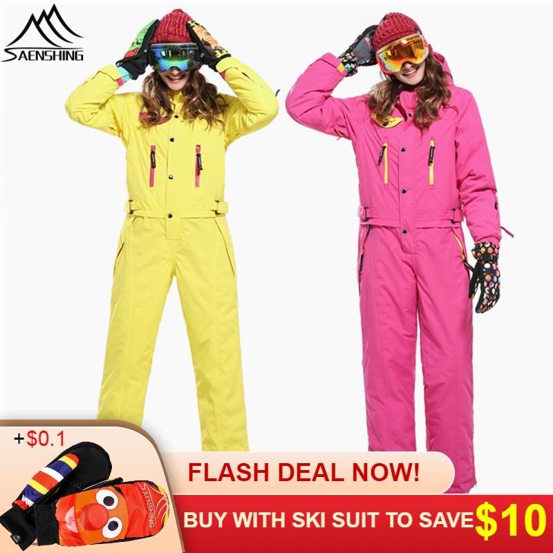 SAENSHING combinaison de Ski une pièce femmes veste de Ski de montagne + pantalon de Snowboard femme imperméable hiver combinaison de neige chaude