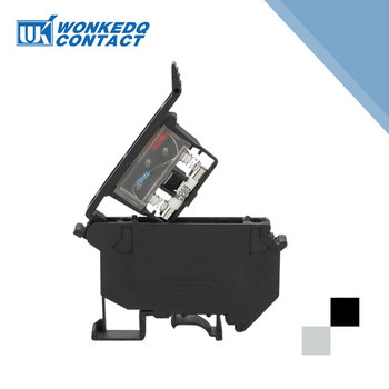 цена на 10Pcs UK-5-HESI Din Rail Terminal Blocks Black Connector Screw Fuse Terminal Connector screw terminal block