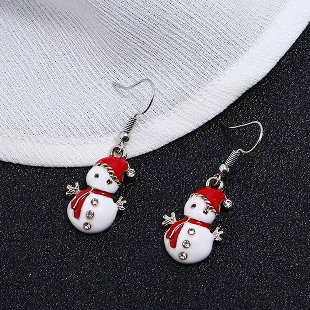 น่ารักการ์ตูนน้ำมันสี Santa Snowman คริสต์มาสของขวัญต่างหูสร้อยคอชุดแฟชั่นแบบพกพา