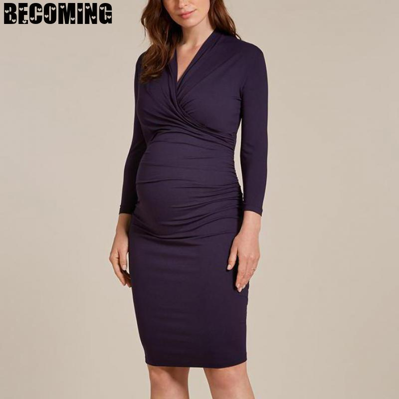 Plus Size Maternity Dresses Black Long Sleeve  Pregnancy Dress Nursing Clothes For Pregnant Women Breastfeed Clothes Dress Bc02