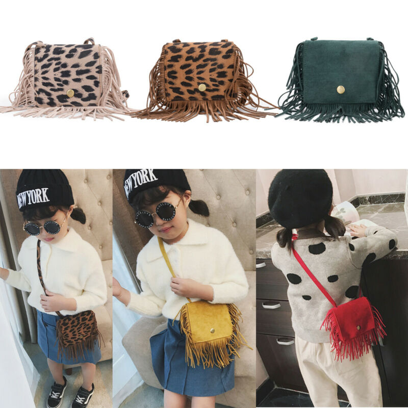 Fashion Leopard Bag For Baby Girl Kids Mini Flap Bag Tassel Handbag Shoulder Crossbody Bag Purse Small Child Messenger Bags New